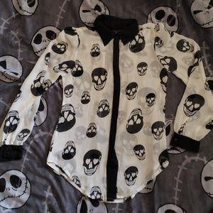 Juniors skull blouse